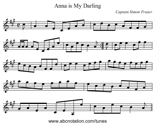 Anna is My Darling - staff notation