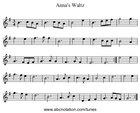 Anna's Waltz - staff notation