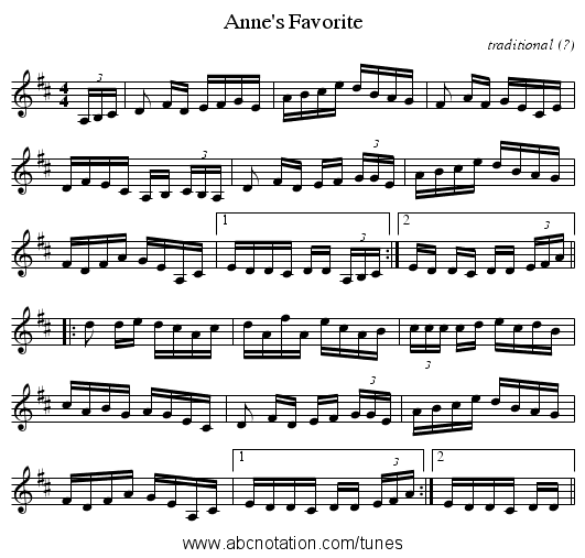 Anne's Favorite - staff notation