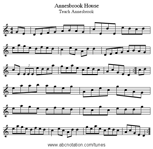 Annesbrook House - staff notation