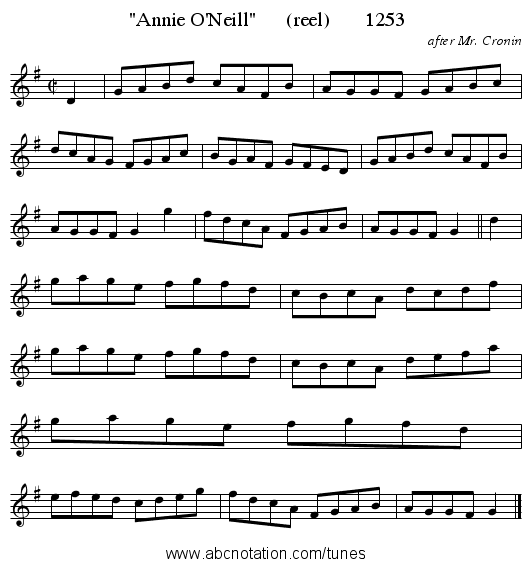 Annie O'Neill      (reel)       1253 - staff notation