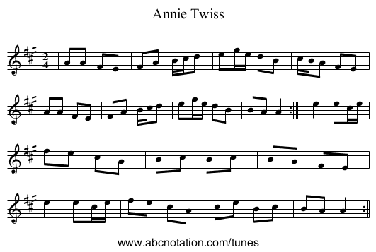 Annie Twiss - staff notation