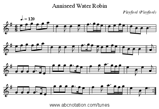 Anniseed Water Robin - staff notation