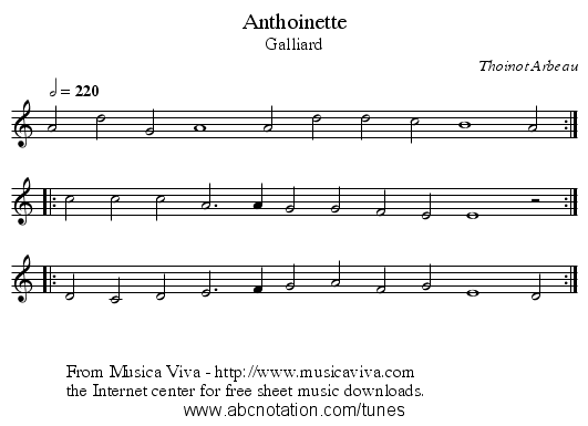Anthoinette - staff notation