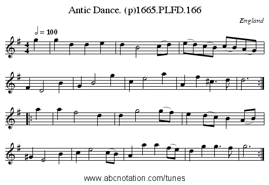 Antic Dance. (p)1665.PLFD.166 - staff notation