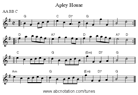 Apley House - staff notation