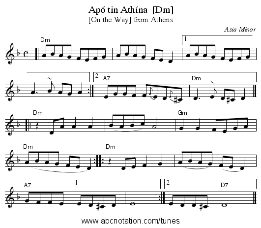 Apó tin Athína  [Dm] - staff notation