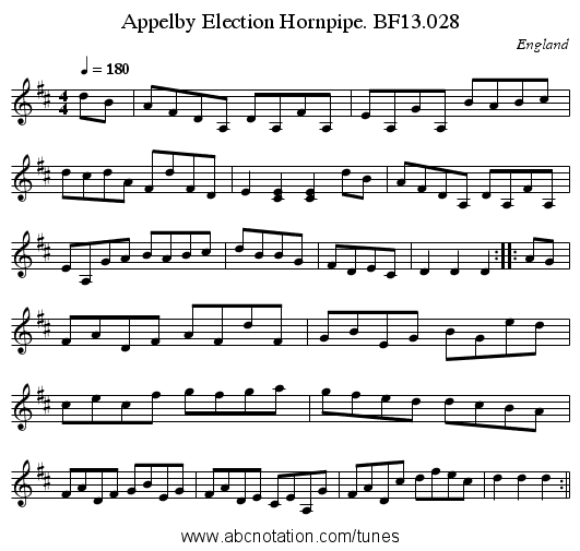 Appelby Election Hornpipe. BF13.028 - staff notation