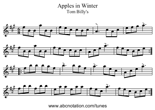 Apples in Winter - staff notation