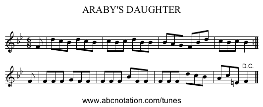 ARABY'S DAUGHTER - staff notation