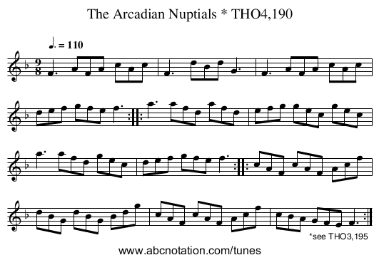 Arcadian Nuptials * THO4,190, The - staff notation