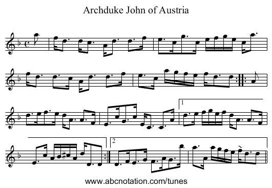 Archduke John of Austria - staff notation