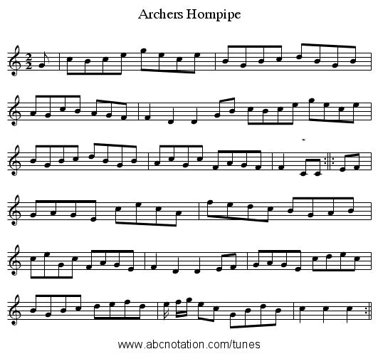 Archers Hornpipe - staff notation