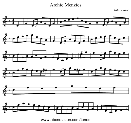 Archie Menzies - staff notation