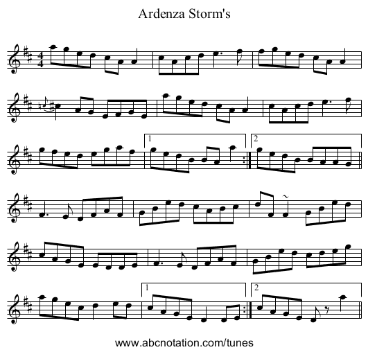 Ardenza Storm's - staff notation