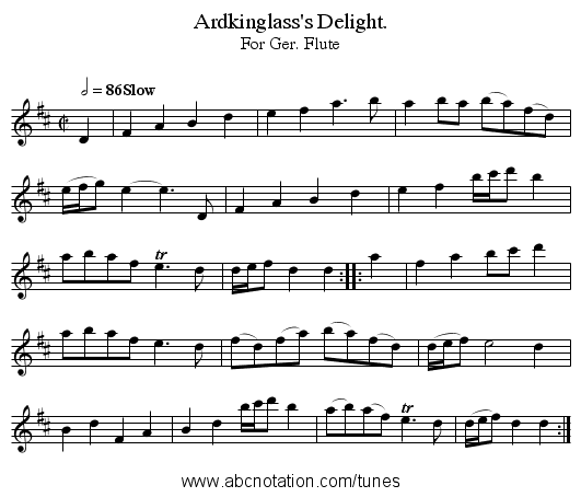 Ardkinglass's Delight. - staff notation