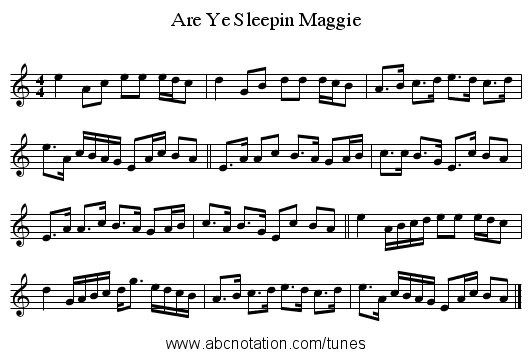 Are Ye Sleepin Maggie - staff notation