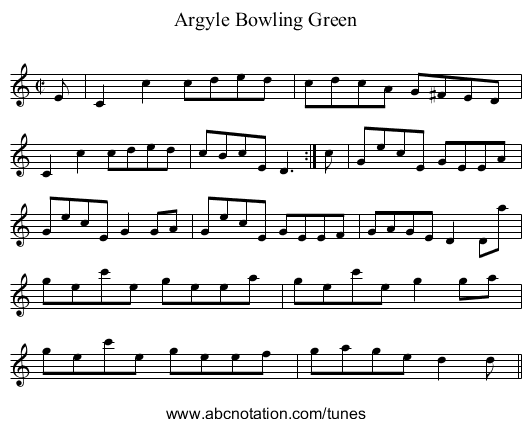 Argyle Bowling Green - staff notation