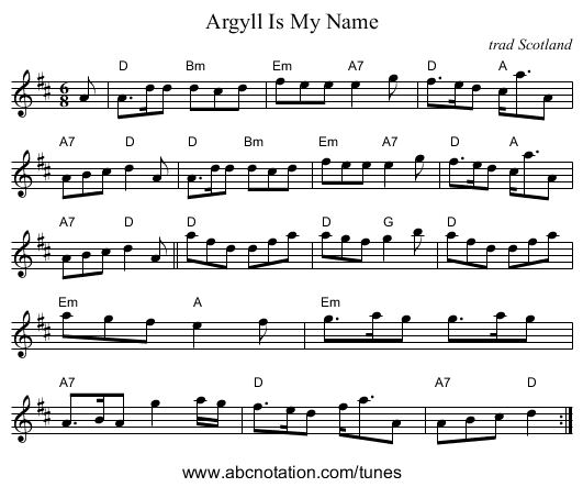 Argyll Is My Name - staff notation