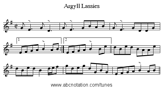 Argyll Lassies - staff notation