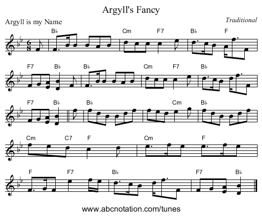 Argyll's Fancy - staff notation