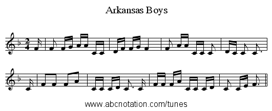 Arkansas Boys - staff notation