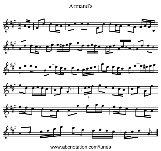 Armand's - staff notation