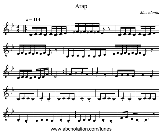 Armenian Turns - staff notation