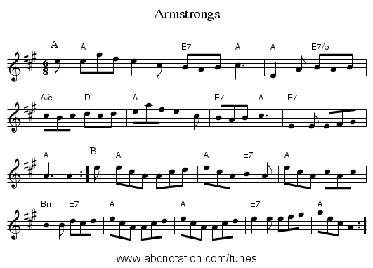 Armstrongs - staff notation