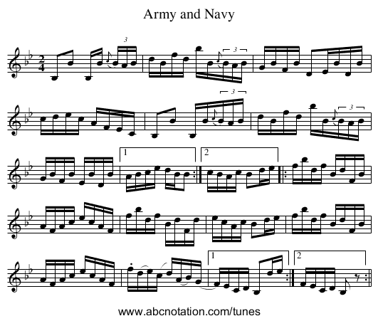 Army and Navy - staff notation