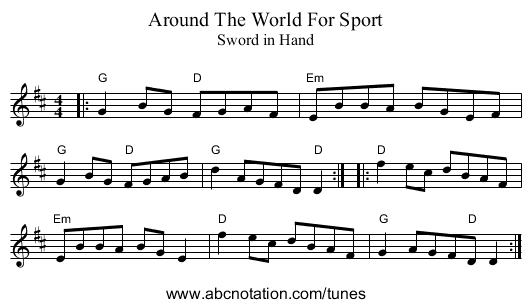 Around The World For Sport - staff notation