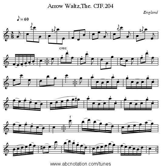 Arrow Waltz,The. CJF.204 - staff notation