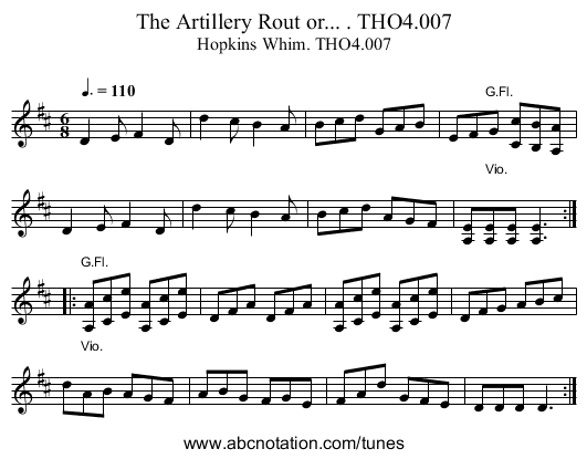Artillery Rout or... . THO4.007, The - staff notation