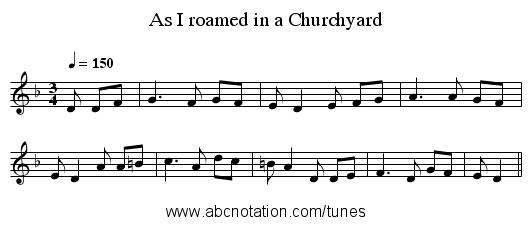 As I roamed in a Churchyard - staff notation