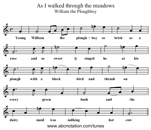 As I walked through the meadows - staff notation