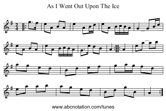 As I Went Out Upon The Ice - staff notation