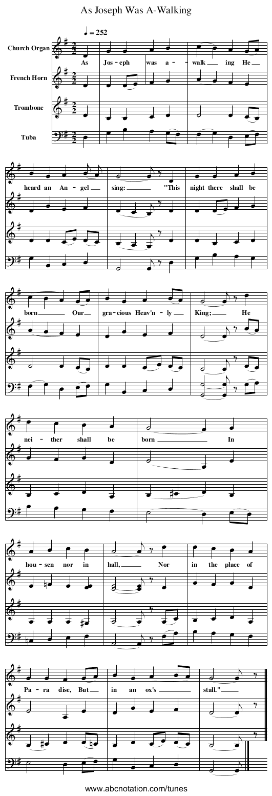 As Joseph Was A-Walking - staff notation
