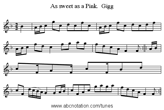 As sweet as a Pink.  Gigg - staff notation