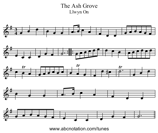 Ash Grove, The - staff notation