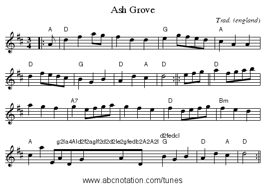 Ash Grove - staff notation
