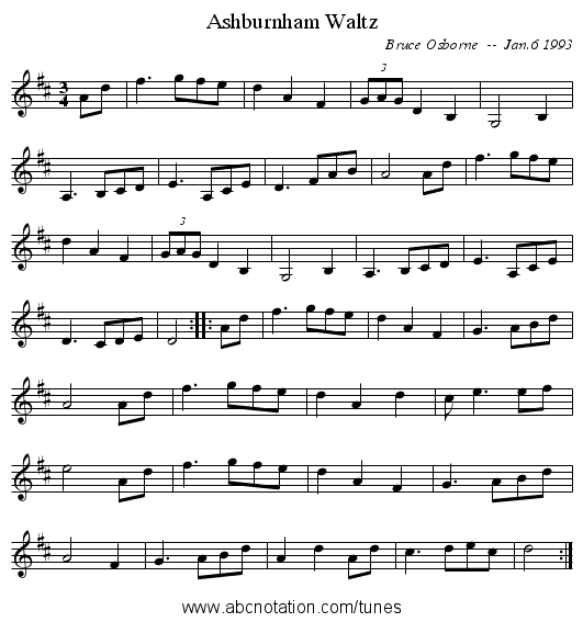 Ashburnham Waltz - staff notation