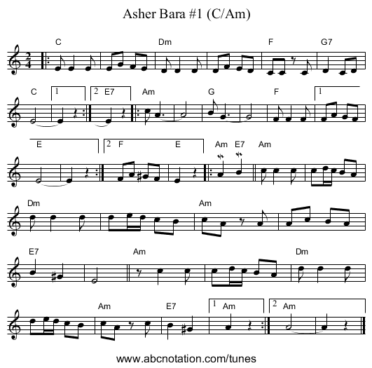 Asher Bara #1 - staff notation