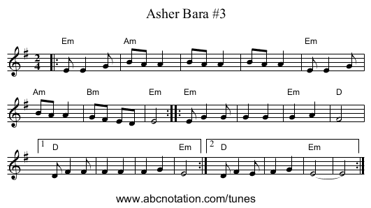 Asher Bara #2 (G) - staff notation