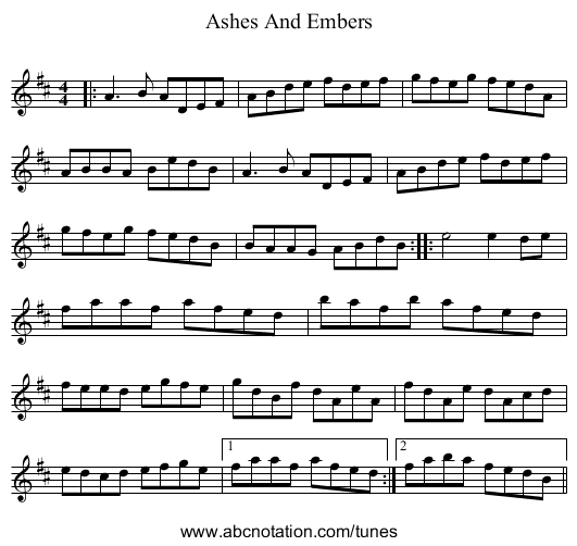 Ashes And Embers - staff notation