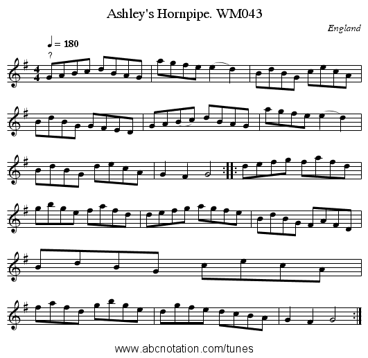 Ashley's Hornpipe. WM043 - staff notation