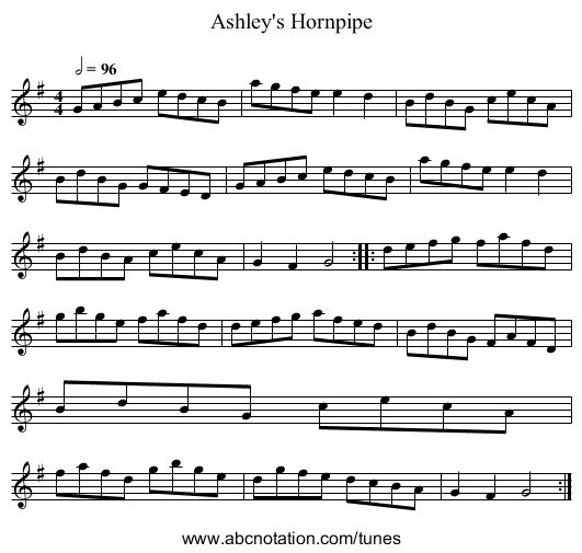 Ashley's Hornpipe - staff notation