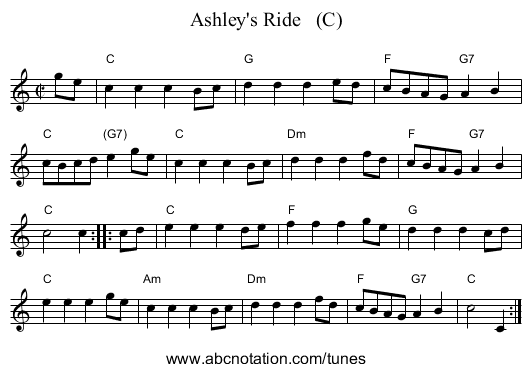 Ashley's Ride   (C) - staff notation