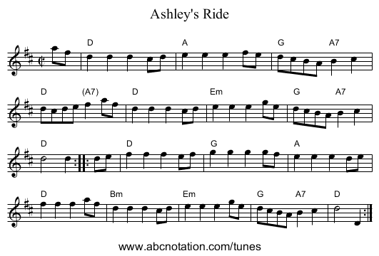 Ashley's Ride - staff notation