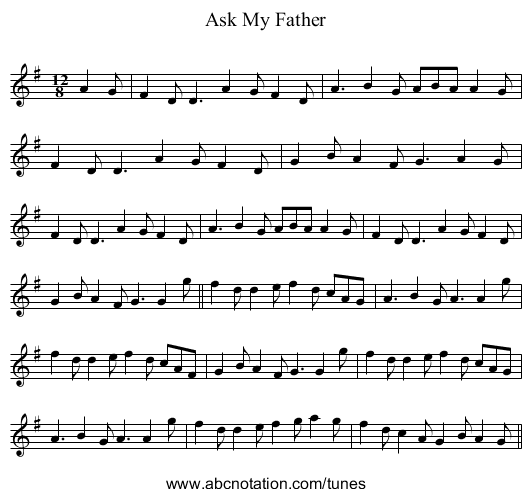 Ask My Father - staff notation