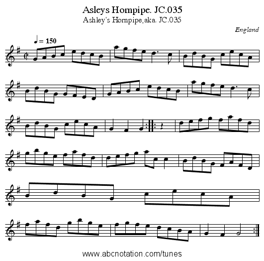 Asleys Hornpipe. JC.035 - staff notation